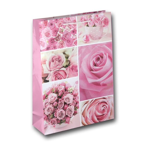 Geschenktüte pinke Rose 25x8x34,5cm