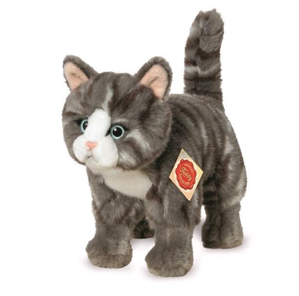 Teddy Hermann Plüschtier Katze stehend grau 20 cm