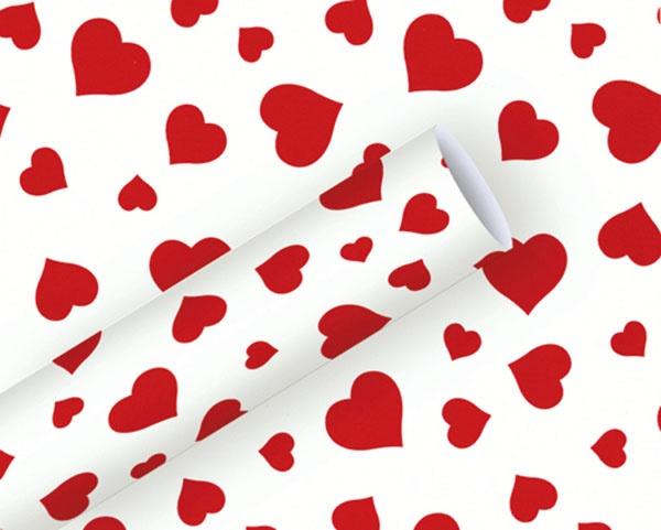 Geschenkpapier Lovely Herzen rot