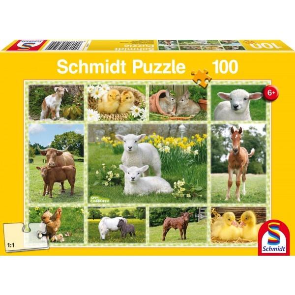 Puzzle Tierkinder auf dem Bauernhof 100 Teile