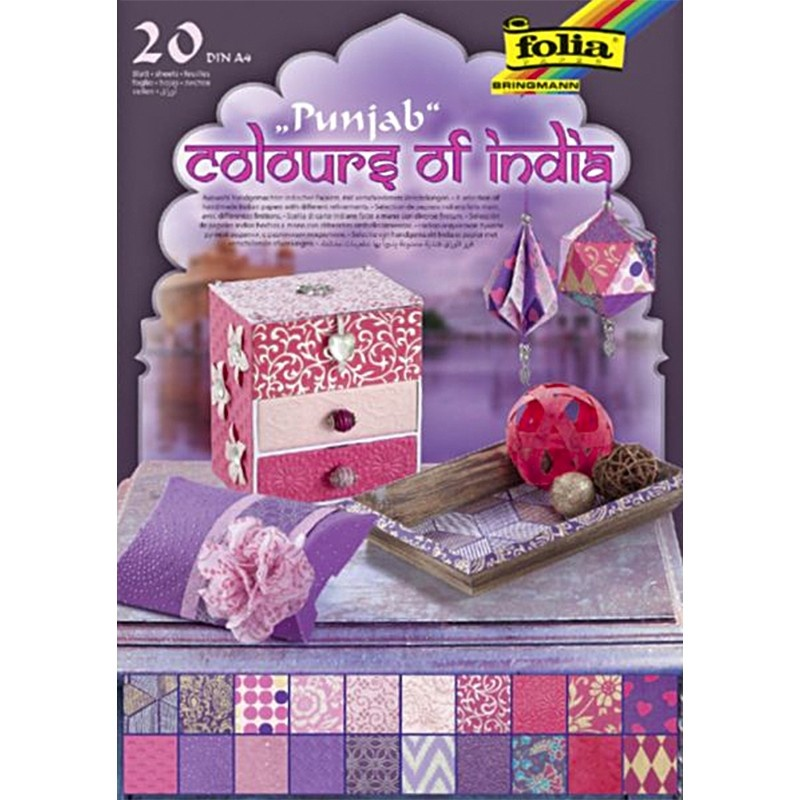 Folia Naturpapier Block Colours o India PUNJAB rosa/lila