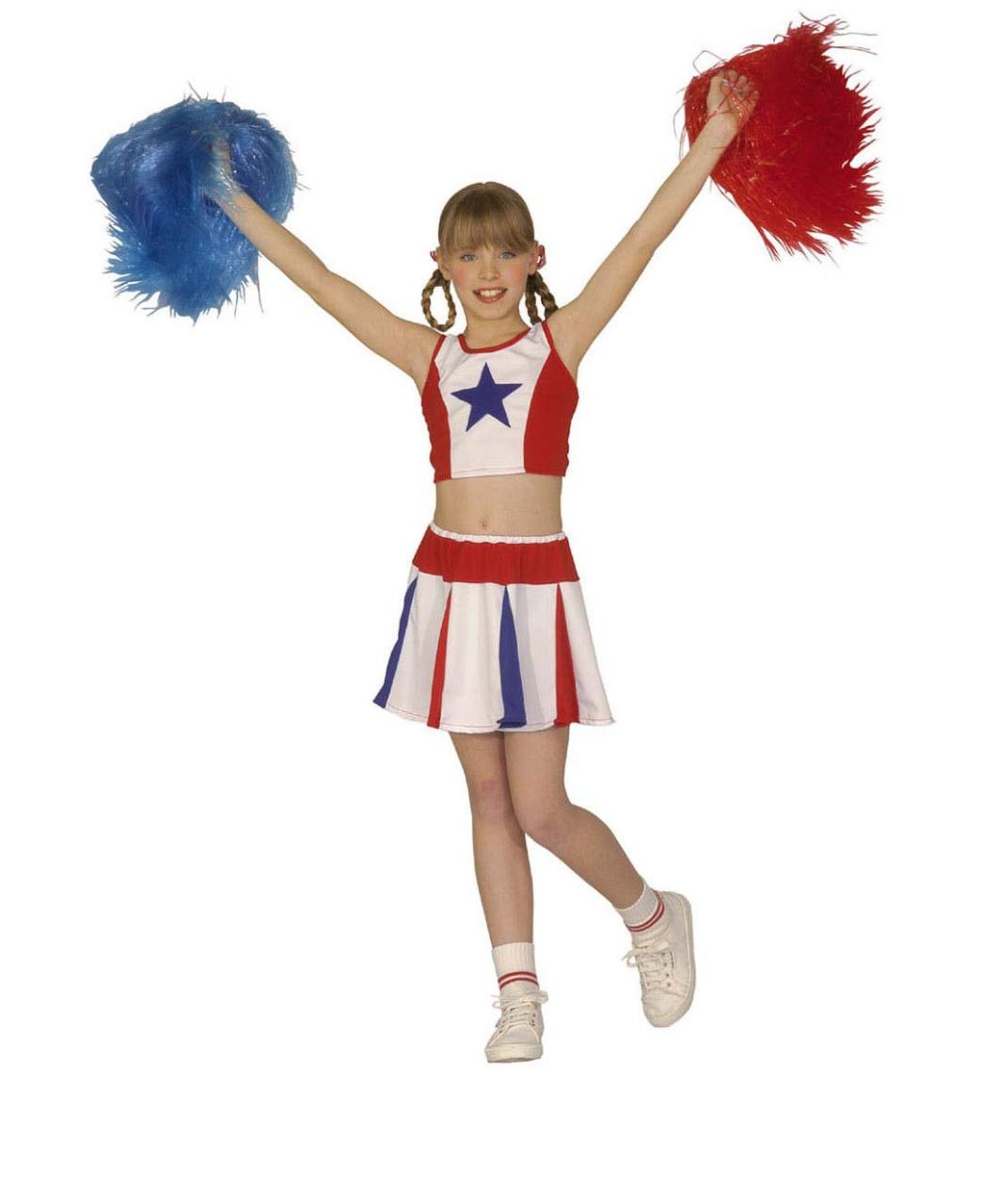 Kostüm Cheerleader rot, weiß, blau 140