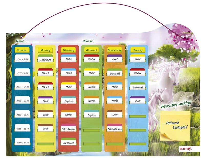 Roth Klipp+Klar Stundenplan Grundschule Steckfix  Einhorn
