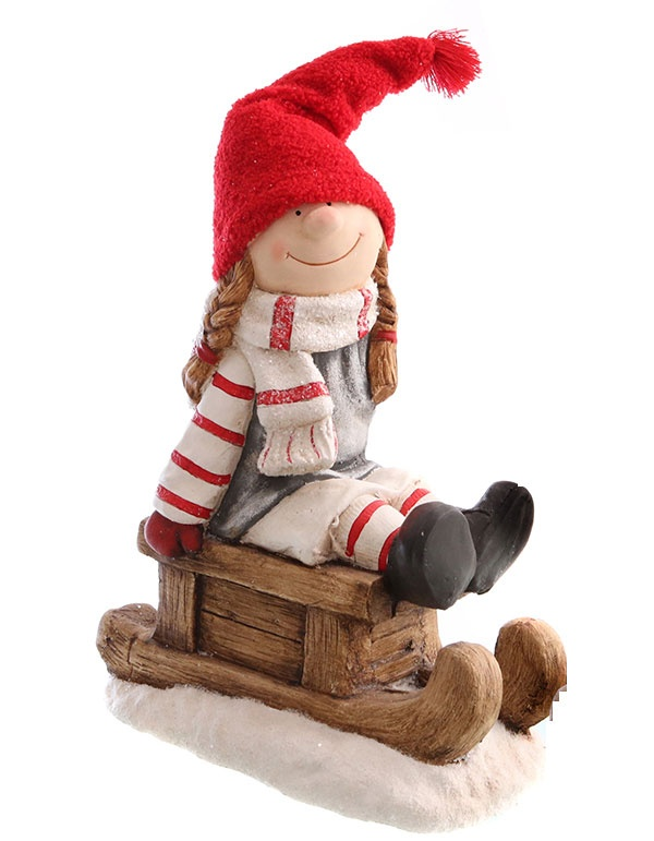 Dekofigur Winterkind aus Schlitten Mädchen XXL 45 cm