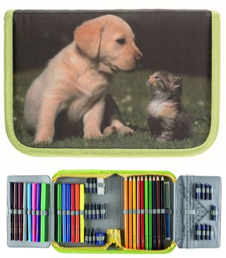 Schüleretui  Tierkinder Katze Hund