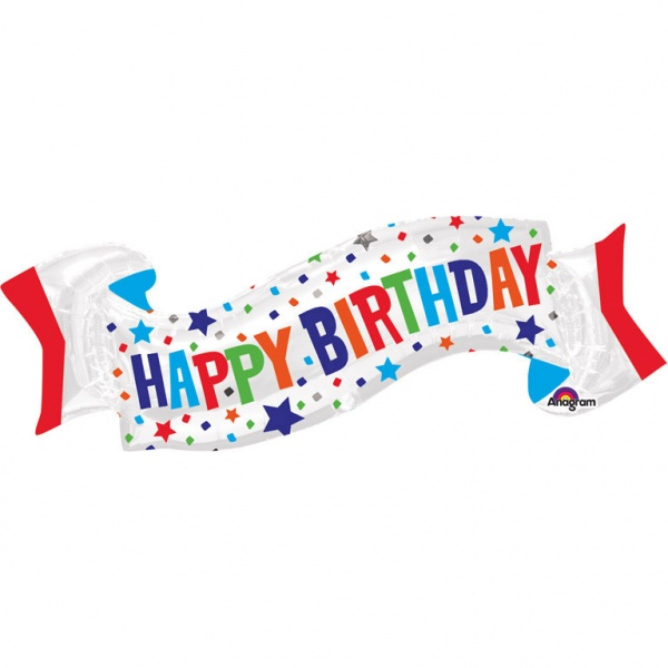 Folienballon Happy Birthday Banner 101 x 48 cm Super Shape