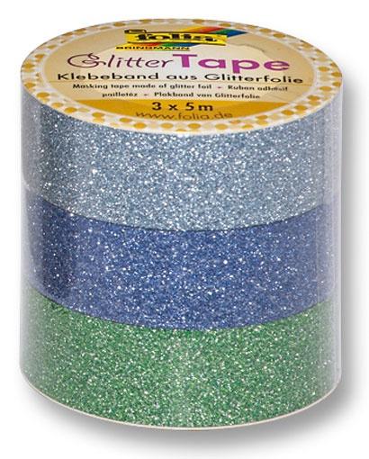 Folia Glitter-Tape 3 Rollen hellblau/dunkelblau/grün