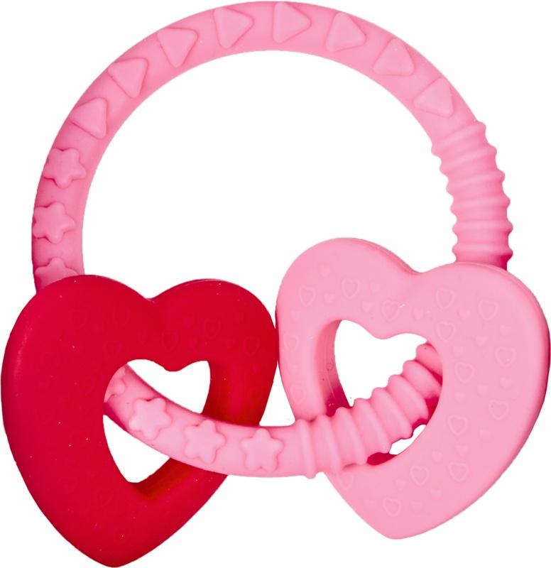 Spiegelburg Baby Glück Beißring rosa mit 2 Herzen