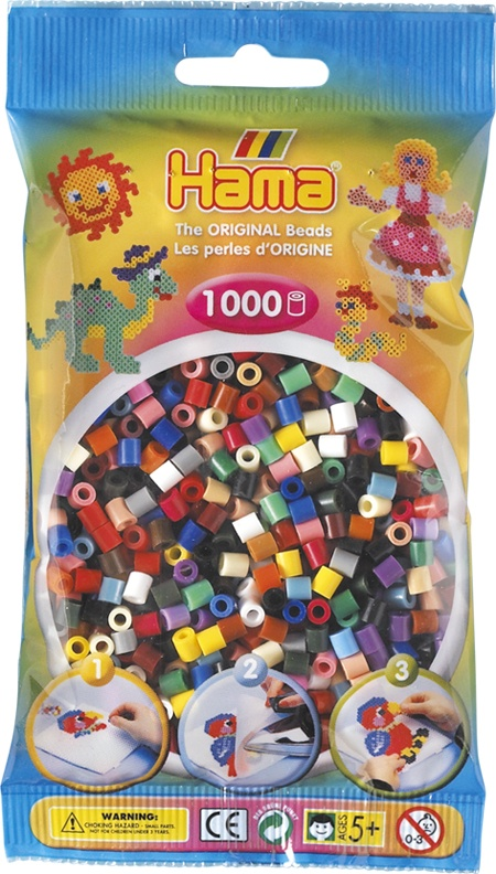 Hama Bügelperlen 1000 Stück Volltonmix