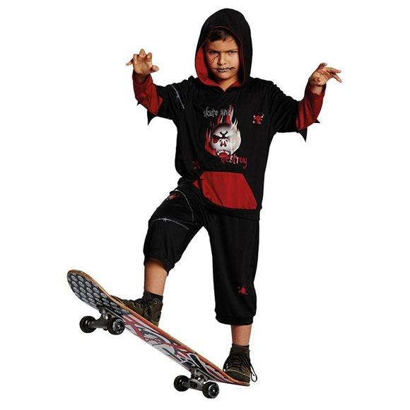Kostüm Grusel Skater schwarz 140