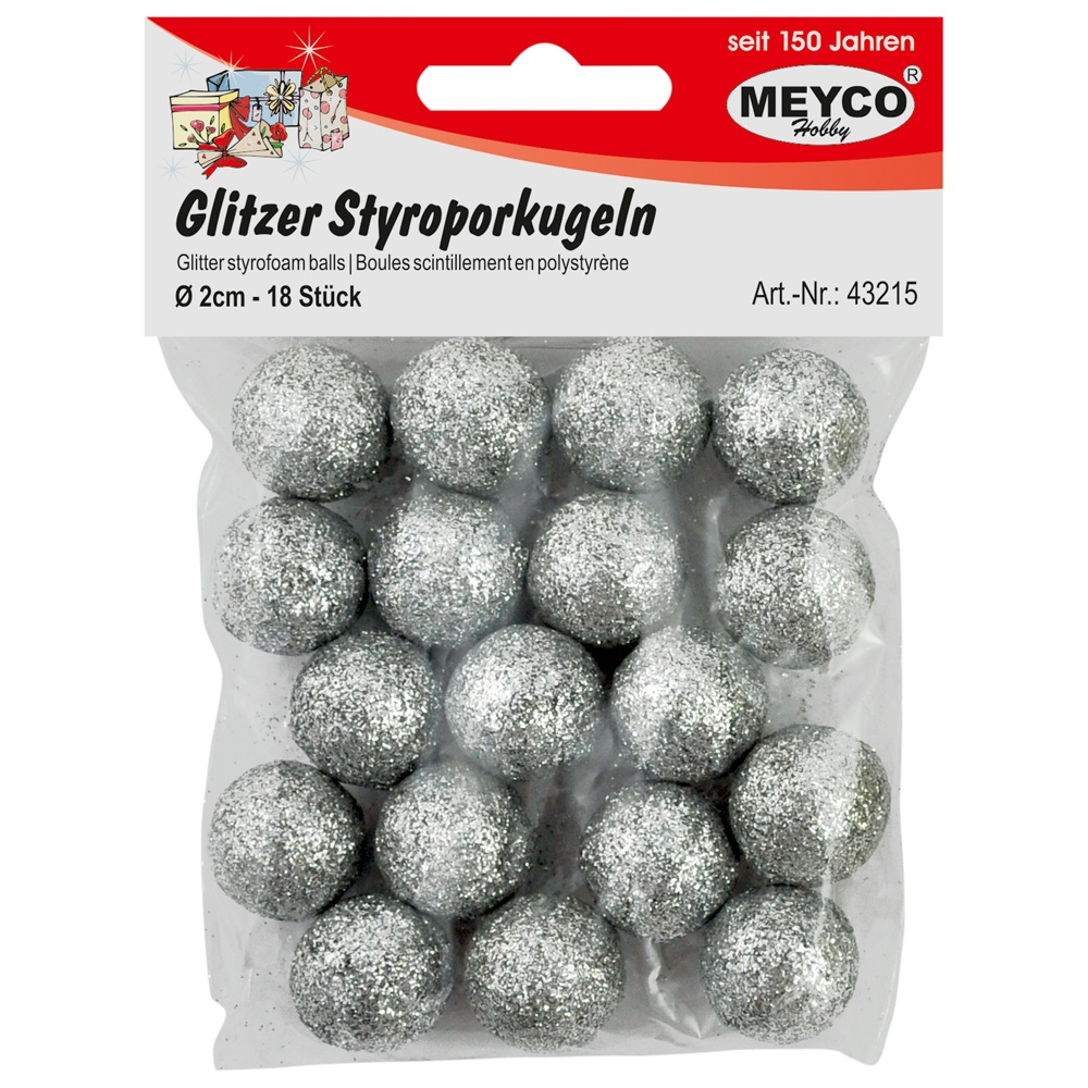 Glitzer-Styroporkugeln 18 Stück silber 20 mm