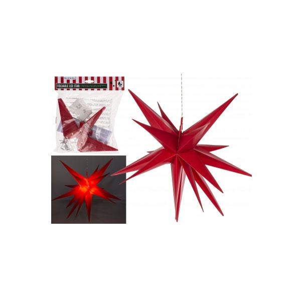 Faltbarer LED-Stern rot 35cm