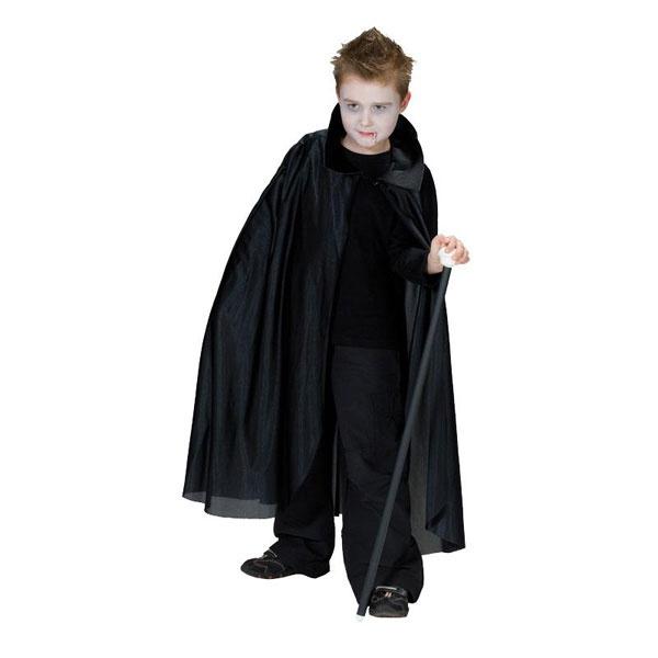 Kostüm Umhang lang mit Kragen schwarz 128