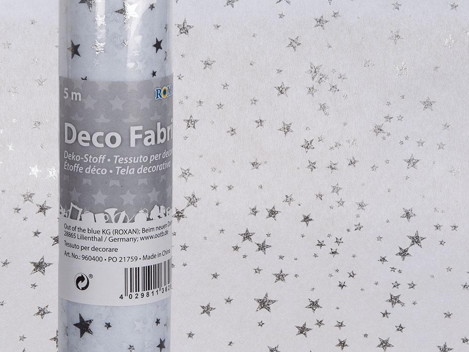 Deko-Stoff weiß mit silberfarbenen Sternen 30cmx5m Dekostoff