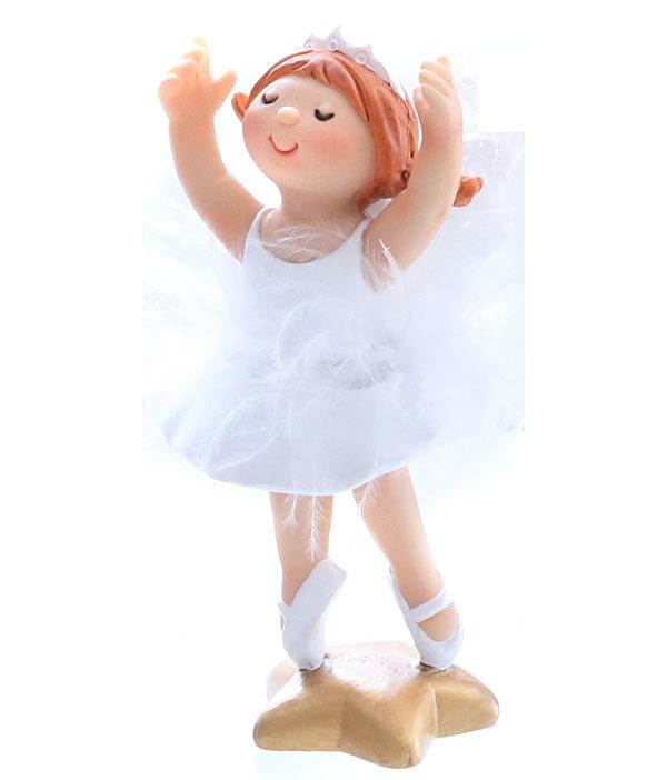 Dekofigur Ballerina auf Stern 11 cm Hände hoch