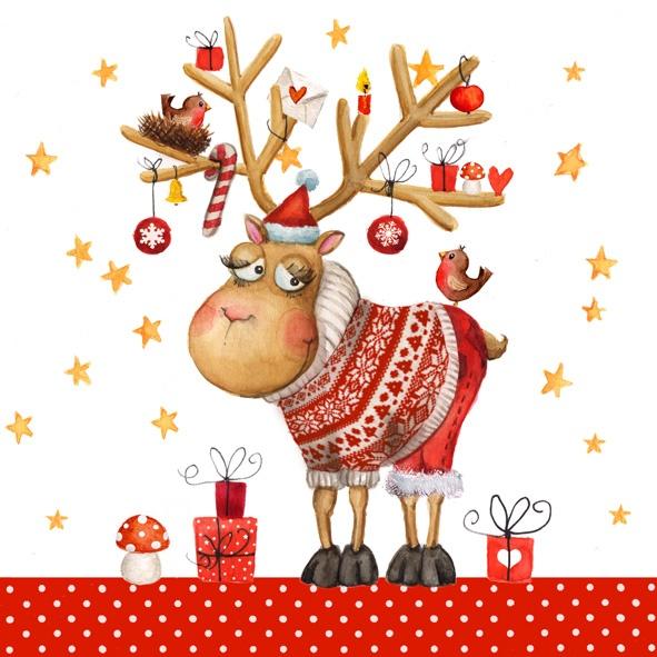 Servietten Weihnachten Glücklicher Hirsch