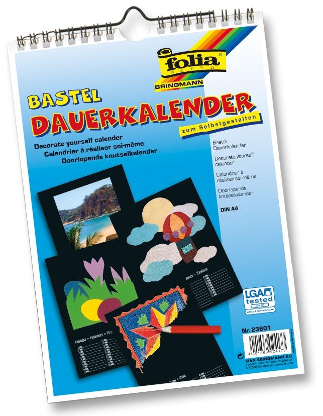 Folia Bastel-Dauerkalender A4 schwarz