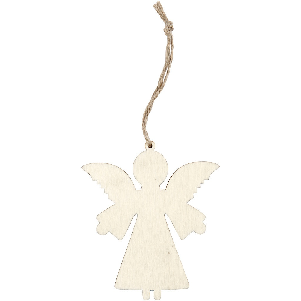 Bastelmaterial Holz-Anhänger Engel 4 Stück 8 x 7 cm