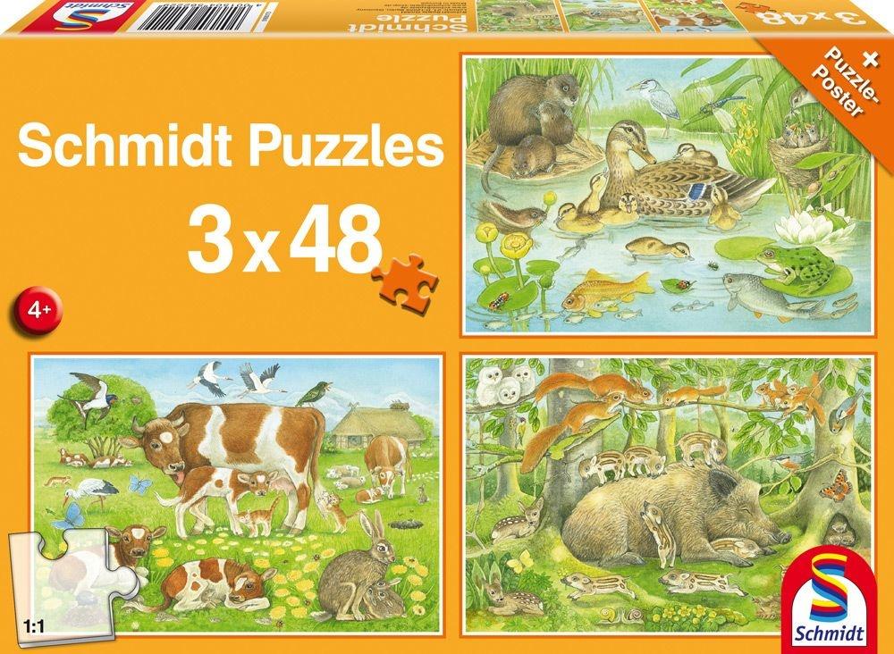 Schmidt Spiele Puzzle Tierfamilien 3 x 48 Teile