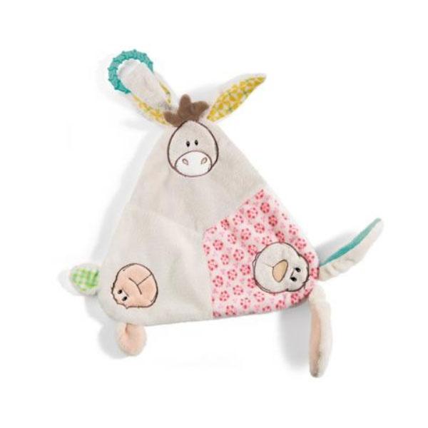 Nici Dreieck-Schmusetuch mit Hase, Lamm und Esel