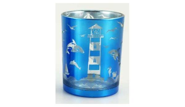 Teelichtglas Leuchtturm Maritim-Blau 12 cm