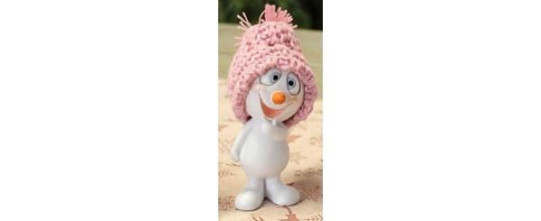 Dekofigur Schneemann mit rosa Mütze lacht 11 cm