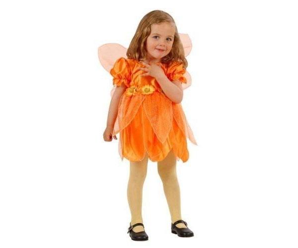 Kostüm Kleine Orangene Blumenfee Gr. 98
