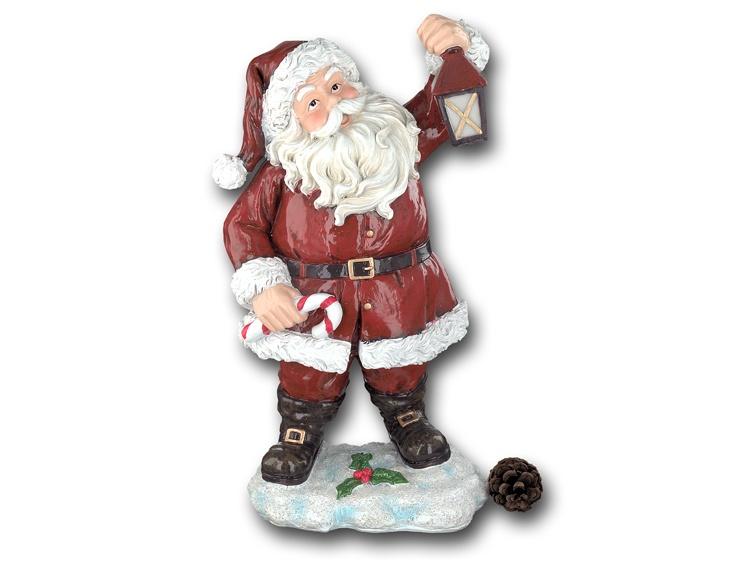 Dekofigur Weihnachtsmann mit Laterne 31 cm