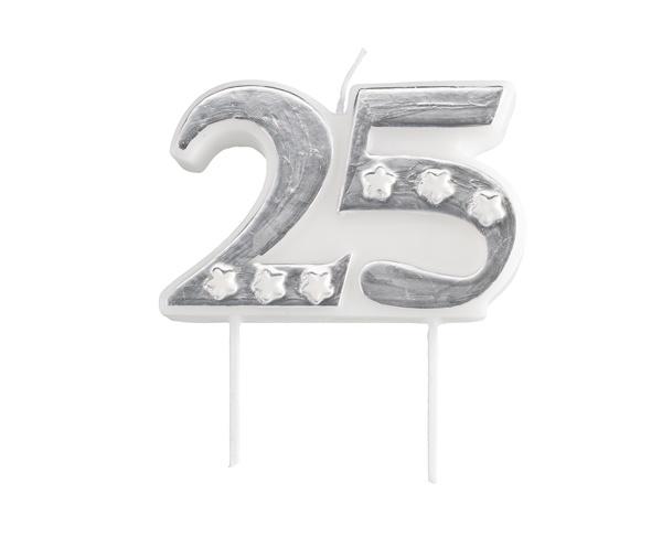 Kerzenzahl 25  silber