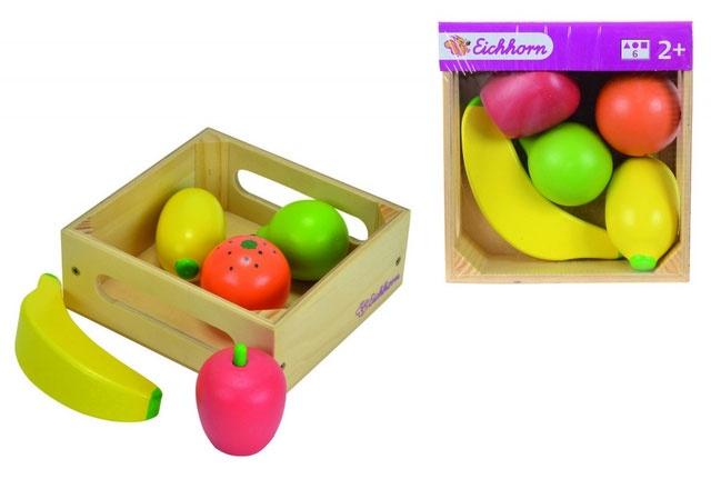 Holzbox mit Früchten Kaufladen-Zubehör