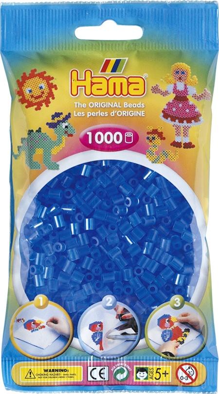 Hama Bügelperlen 1000 Stück transparent blau