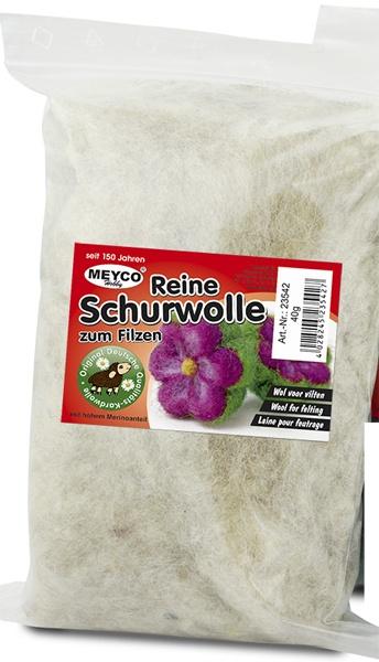 Bastelmaterial Reine Schurwolle Wolle zum Filzen natur weiss