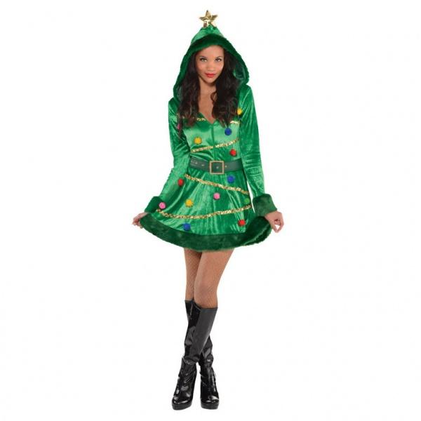 Weihnachten Damenkostüm Weihnachtsbaum-Kleid M