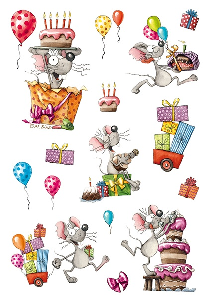 Herma Schmucketikett Magic Happy Birthday Maus mit Glitter