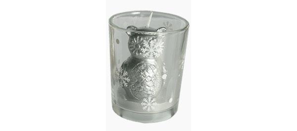 Motivkerze im Glas Eule silber 6,5 cm