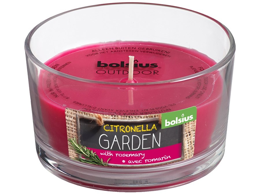 Bolsius Duftglas Outdoor citronell Garden rosmarin fuchsia
