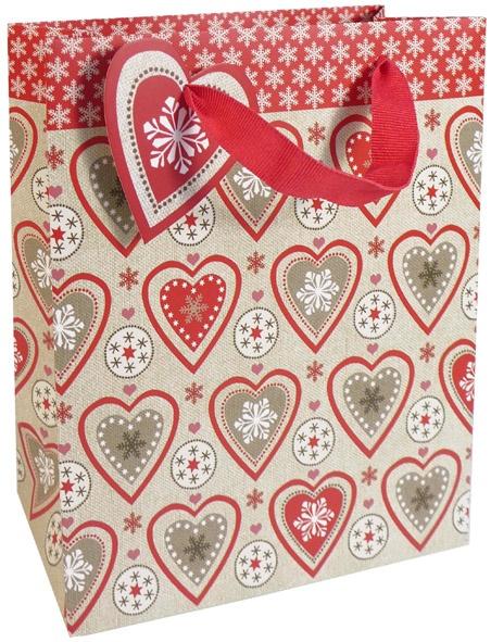 Geschenktasche Weihnachten Herzen