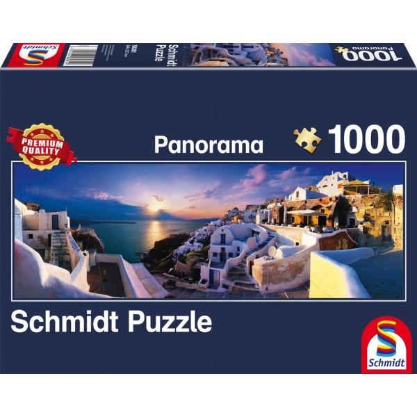 Schmidt Spiele Panorama Puzzle Sonnenuntergang auf Santorin