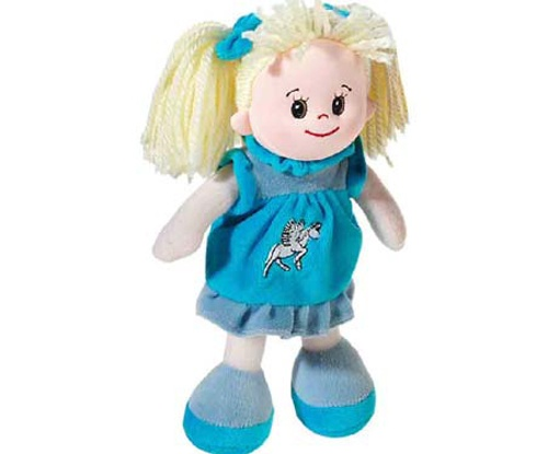 Poupetta Stoffpuppe kleine Sindy blondes Haar 20 cm