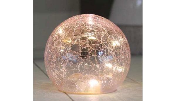 Glaskugel mit LED rosa 10 cm