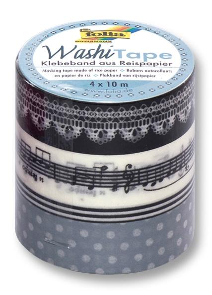 Folia Washi Tape Klebeband Melodie 4 Stück