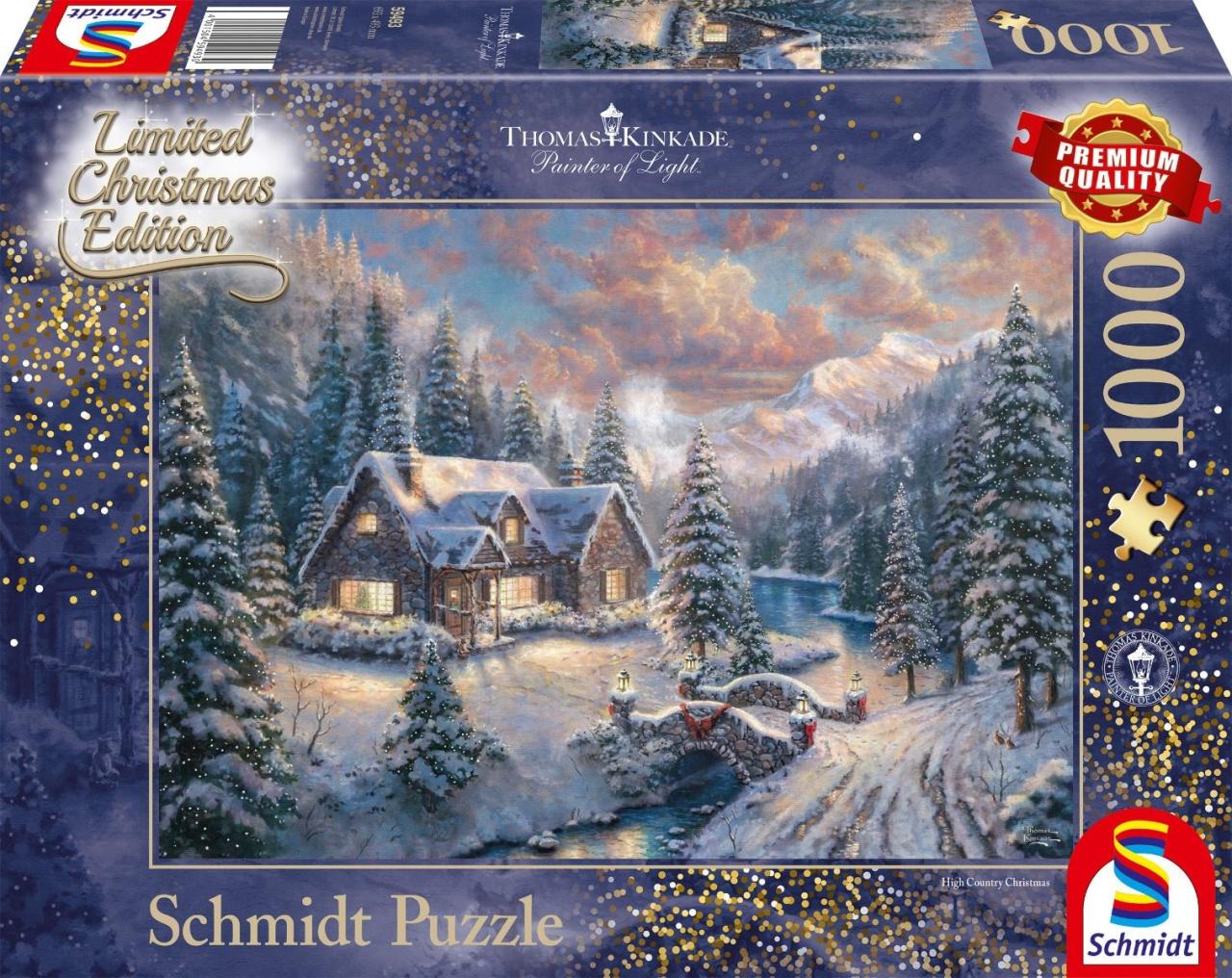 Schmidt Puzzle Thomas Kinkade Weihnachten in den Bergen