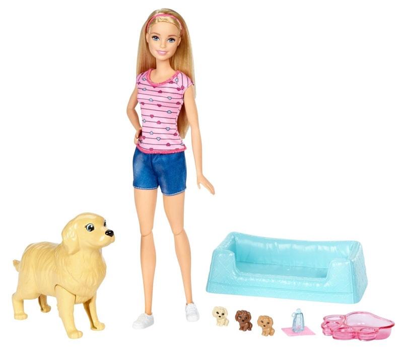 Barbie Hundemama, Welpen und Puppe FDD43