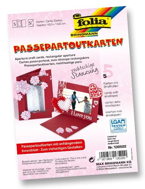 Folia Passepartoutkarten-Set rechteckige Stanzung dunkelrot