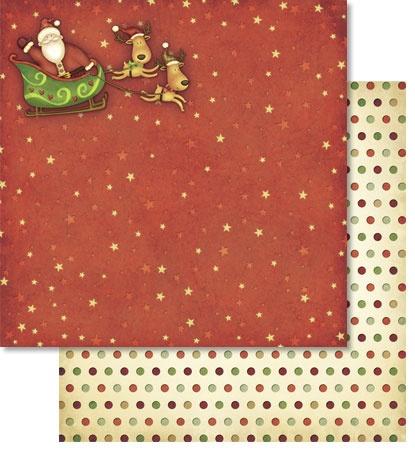 Scrapbook Paper Premium Santa Claus mit Glitter Motiv 143