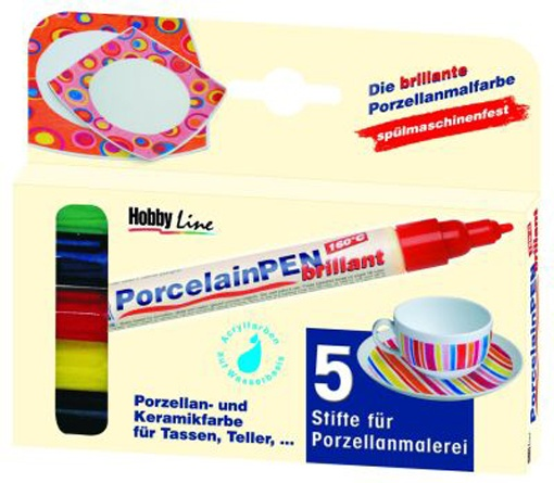 Porzellanmalfarbe brillant, 5er-Set