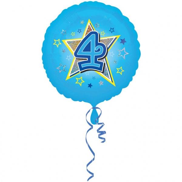 Folienballon Blaue Sterne Zahl 4 43 cm