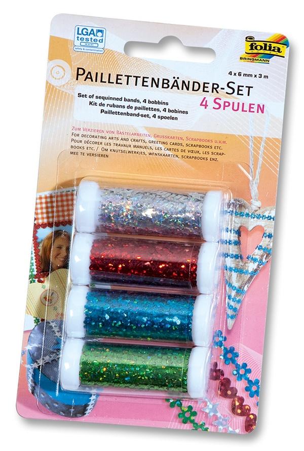 Folia Paillettenbänder-Set 4Spulen 4 Farben