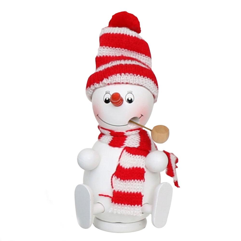 Räuchermännchen Schneemann mit Mütze und Schal rot 13 cm