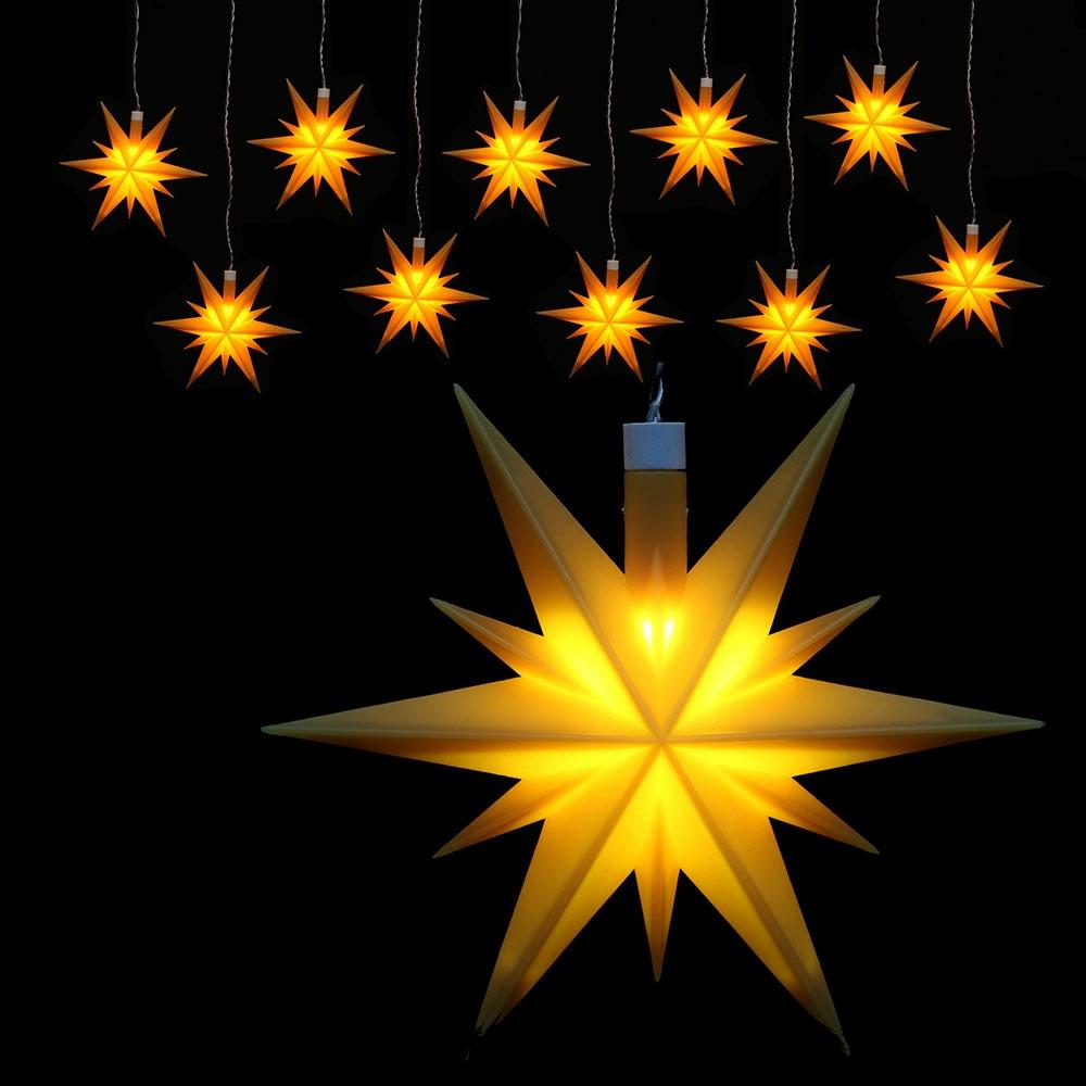 Weihachtsstern beleuchtet 10er-Lichterkette wetterfest gelb